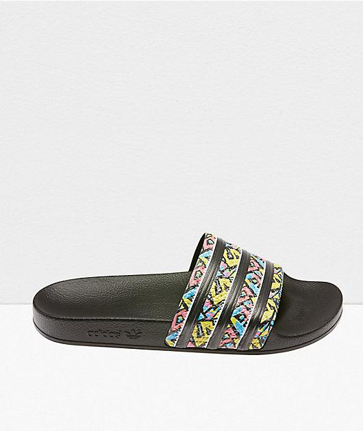 adidas Adilette Black & Festive Reptile Slide Sandals