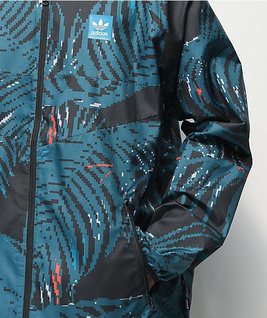 adidas Allover Print BB chaqueta cortavientos verde azulado