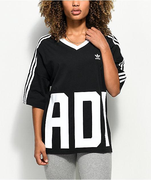 adidas Big Logo 3 Stripe V-Neck T-Shirt