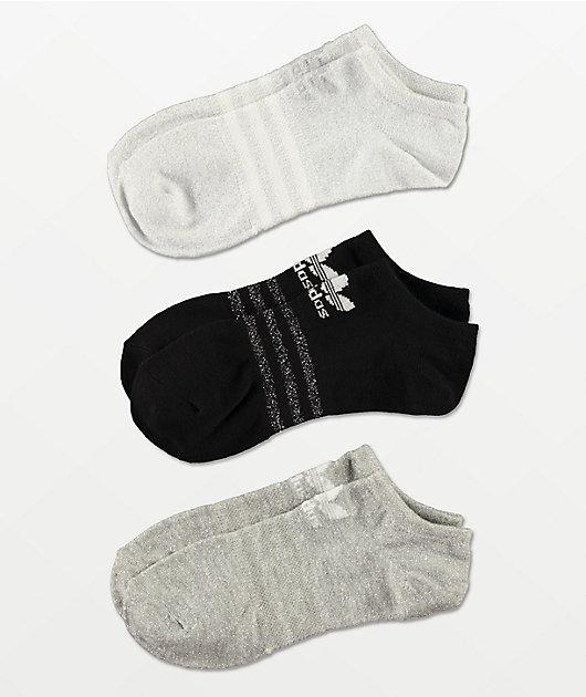 adidas Black, White & Grey 3 Pack No Show Socks