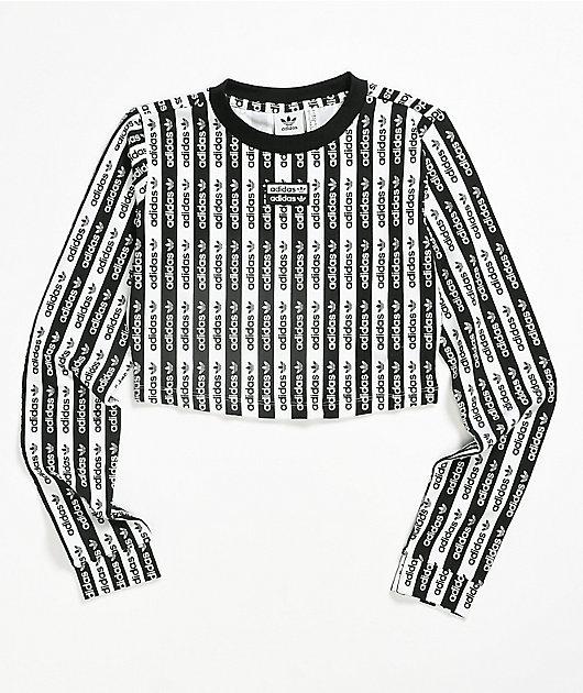 adidas Black & White Pattern Long Sleeve Crop T-Shirt