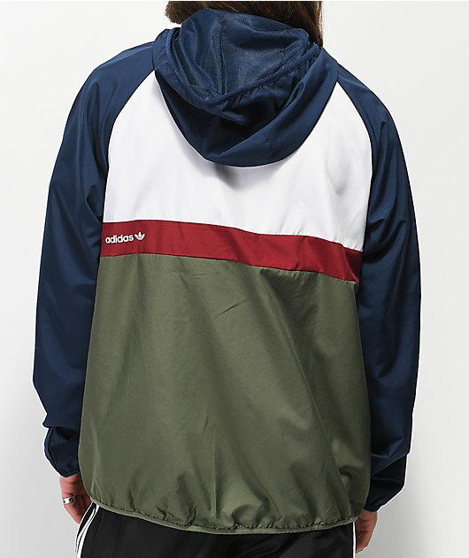 adidas Blackbird Navy & Green Packable Windbreaker Jacket