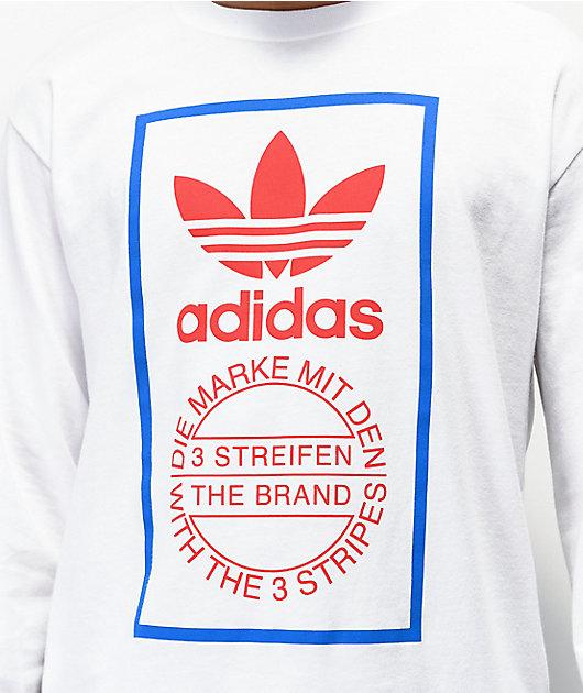 adidas Box Logo White Long Sleeve T-Shirt