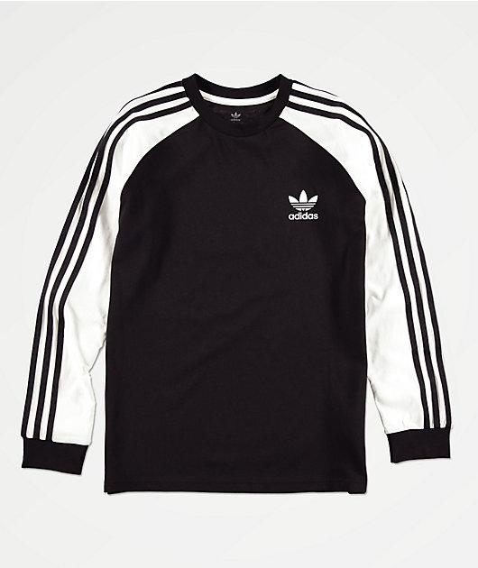 adidas Boys 3-Stripe Black & White Long Sleeve T-Shirt