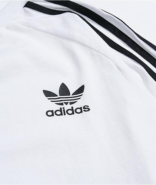adidas Boys 3-Stripe White & Black Long Sleeve T-Shirt