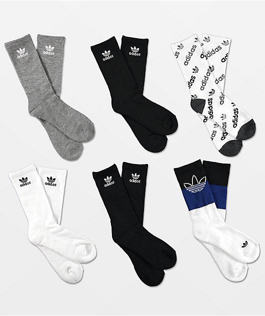 adidas Boys OG Mix 6 Pack Crew Socks