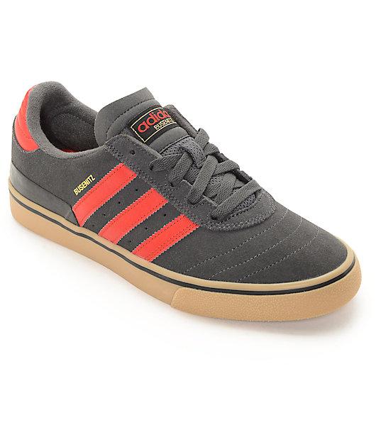 Luna Garganta Parte  adidas Busenitz Vulc zapatos de skate gris, rojo y goma   Zumiez
