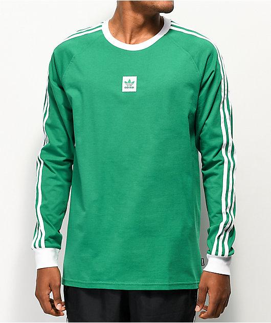 adidas Cali Blackbird Green & White Long Sleeve T-Shirt