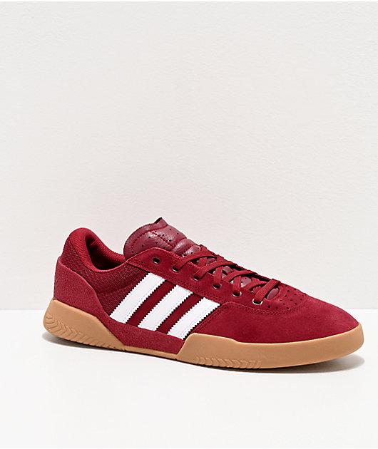 adidas City Cup zapatos en borgoño, blanco y goma