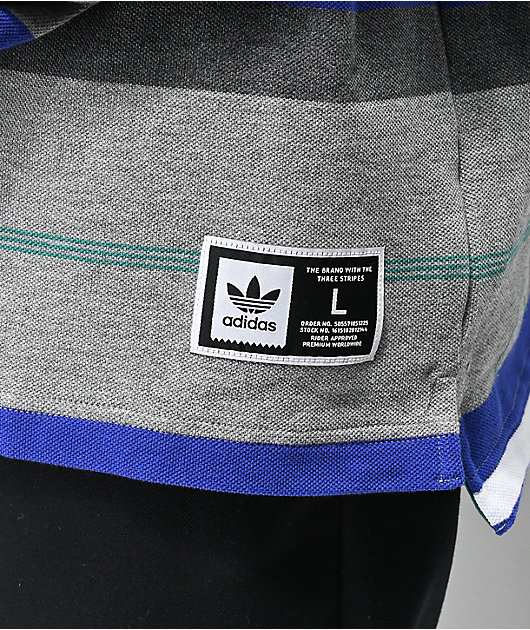 adidas Cleland Grey, Blue & Green Long Sleeve Polo Shirt
