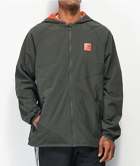 adidas Dekum Black & Orange Packable Windbreaker Jacket