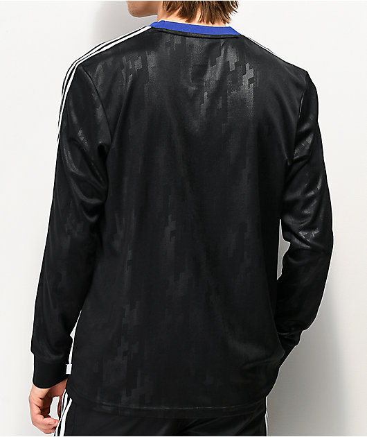 adidas Dodson Black & Blue Long Sleeve Mesh Jersey