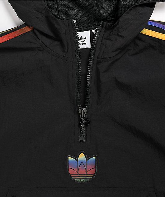 adidas Half Zip Multicolor Stripe Crop Hoodie