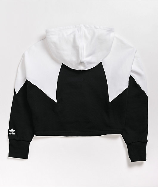 adidas Large Logo Black & White Crop Hoodie