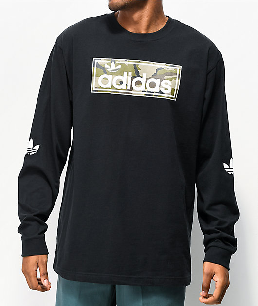 adidas Linear Camo Black Long Sleeve T-Shirt