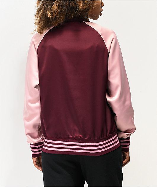 adidas Maroon & Pink Satin Track Jacket