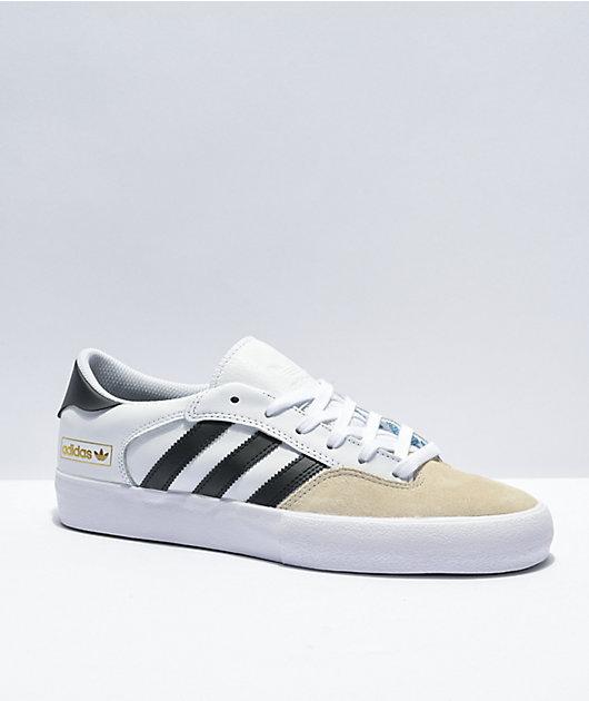 adidas Matchbreak Super White, Black, & Tan Skate Shoes