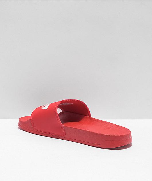 adidas Mens Adilette Lite Red Slide Sandals