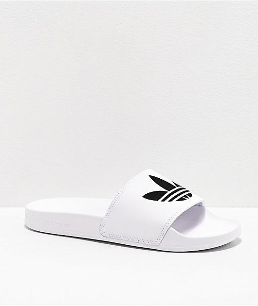 adidas Mens Adilette Lite White \u0026 Black
