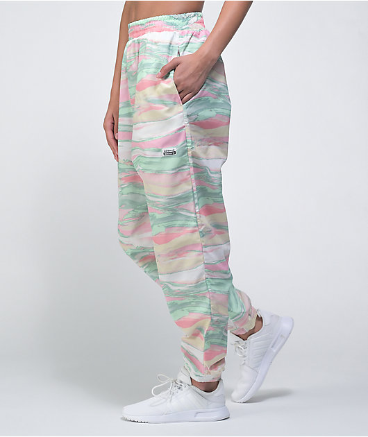 adidas Multi Colour Pink, Green & Cream Marble Dye Track Pants