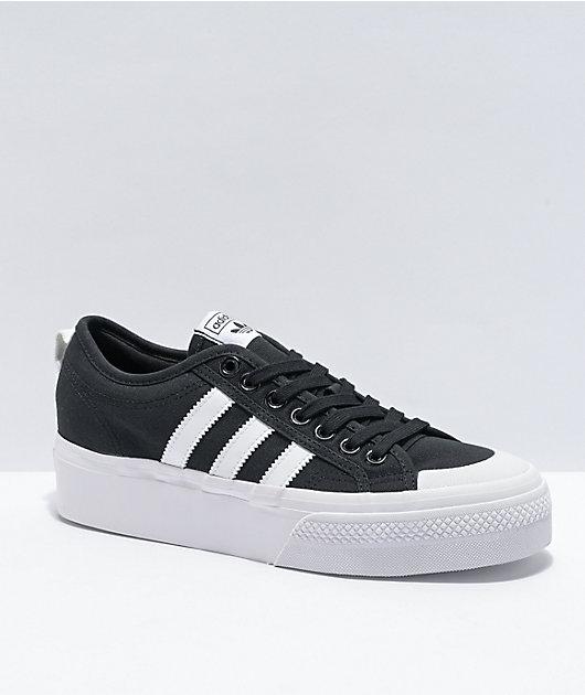 adidas Nizza Black & White Platform Shoes
