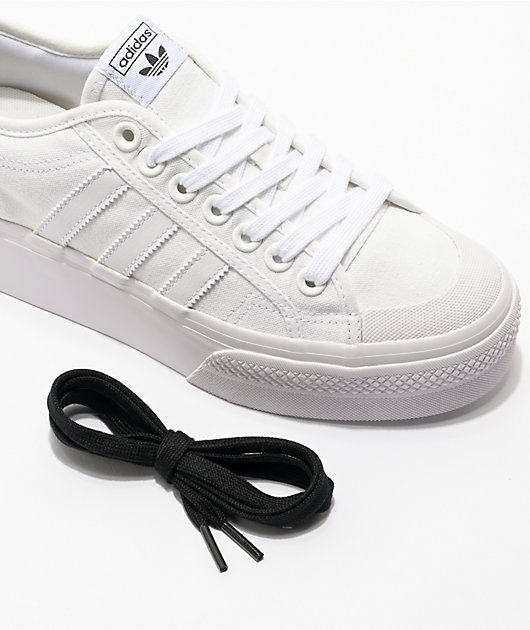 adidas Nizza White Platform Shoes