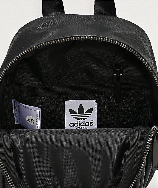 adidas Originals Black Faux Leather Mini Backpack