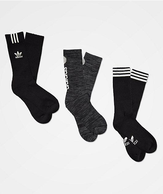 adidas Originals Graphic Logo II paquete de 3 calcetines negros y grises