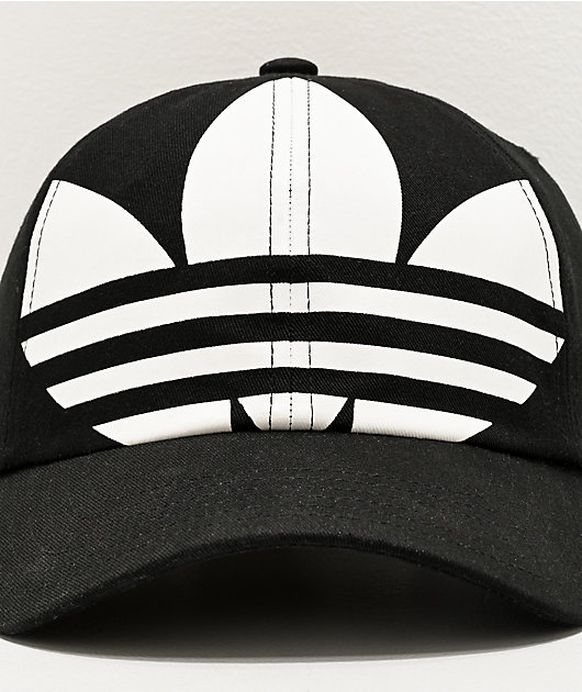 adidas Originals Relaxed Big Trefoil Black & White Strapback Hat