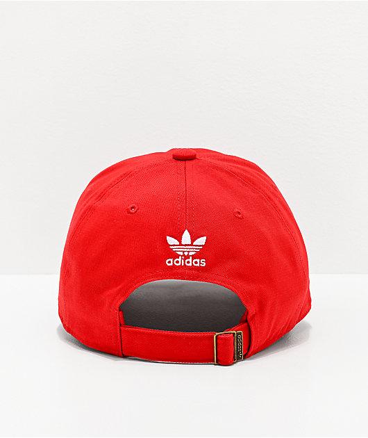 adidas Originals Relaxed Big Trefoil Lush gorra roja y blanca