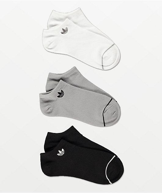 adidas Originals Superlite Black, White and Grey 3 Pack No Show Socks
