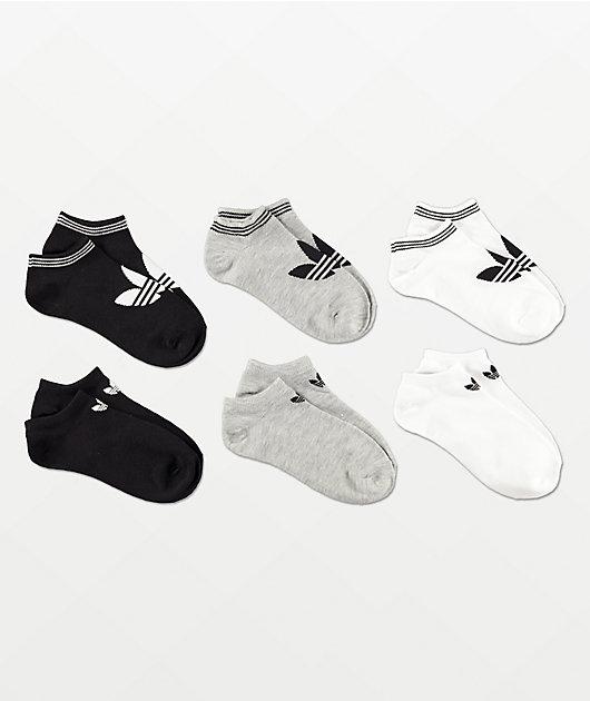 adidas Originals Trefoil White, Grey & Black 6 Pack No Show Socks