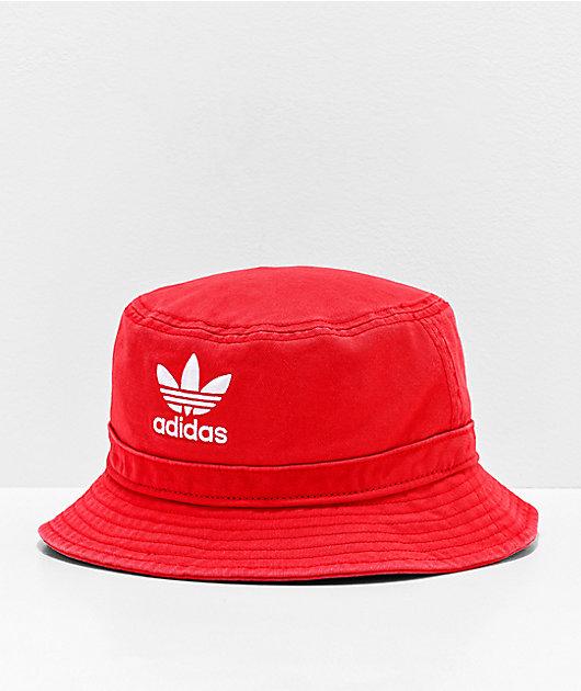 adidas Originals Washed Red Bucket Hat