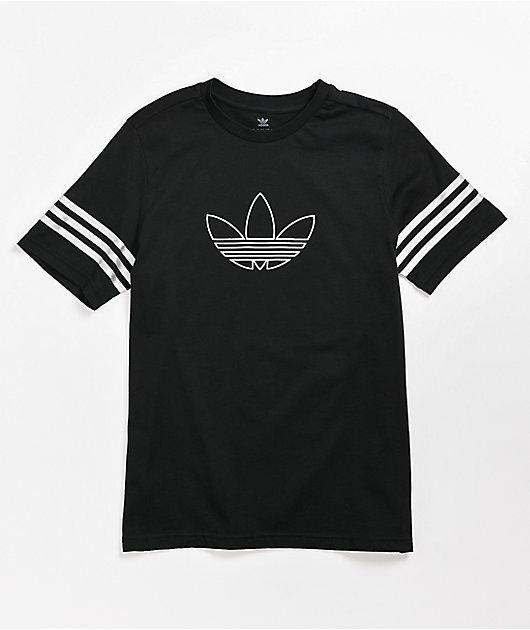 Conciso Asentar Bocadillo  adidas Outline camiseta negra y blanca para niños   Zumiez