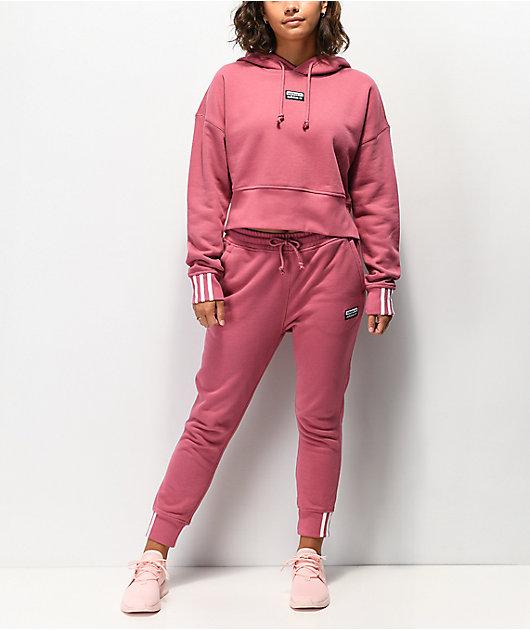 adidas R.Y.V. Maroon Crop Hoodie