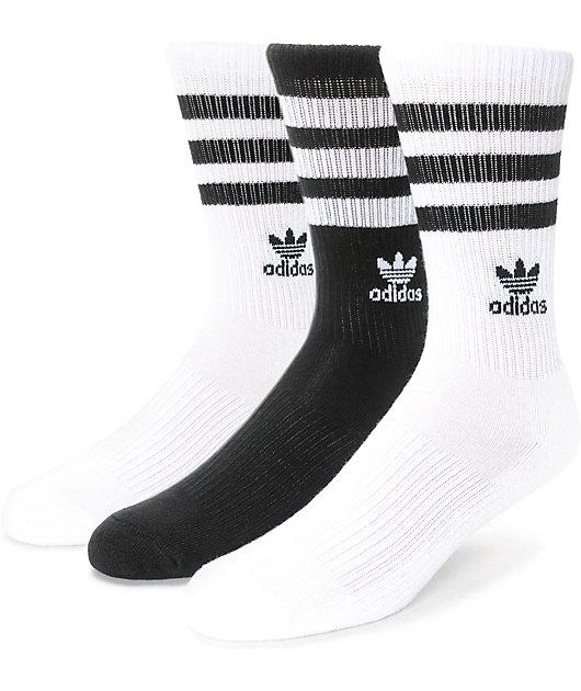vacío Insatisfactorio Desierto  adidas Roller Black & White 3 Pack Crew Socks | Zumiez