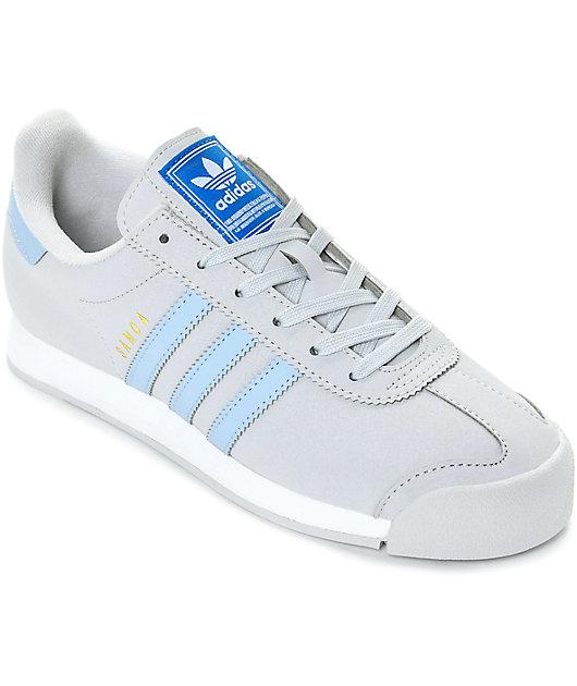adidas Samoa Grey, Blue \u0026 White Shoes