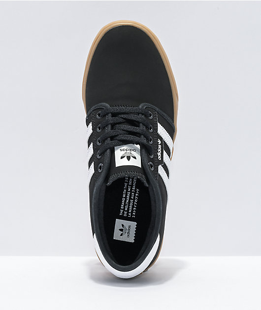 adidas Seeley J Black, White, & Gum Skate Shoes