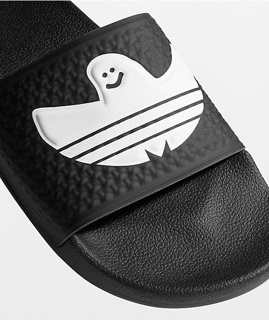 adidas Shmoofoil Black & White Slide Sandals