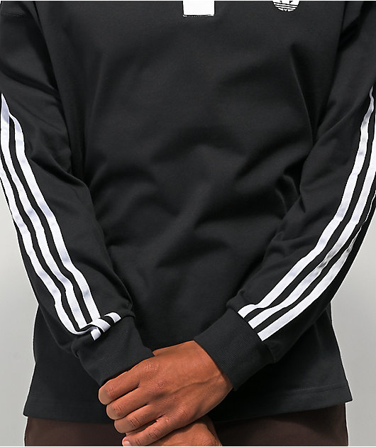 adidas Solid Black & White Rugby Shirt