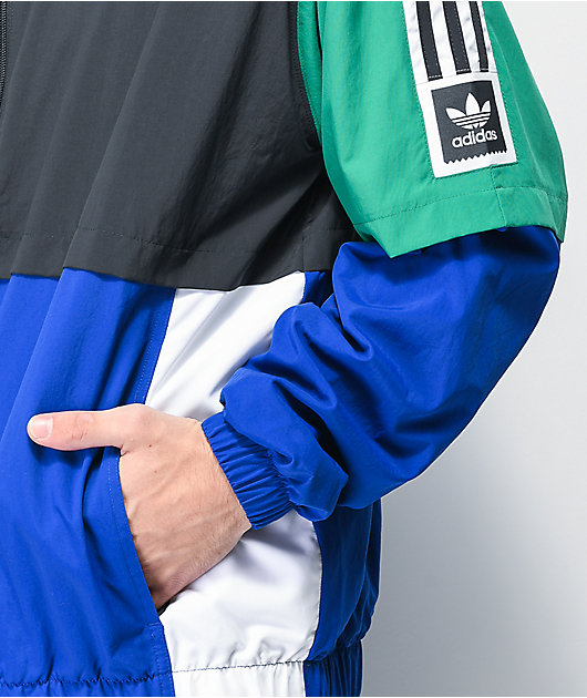 adidas Standard Black, Blue & Green Windbreaker Jacket