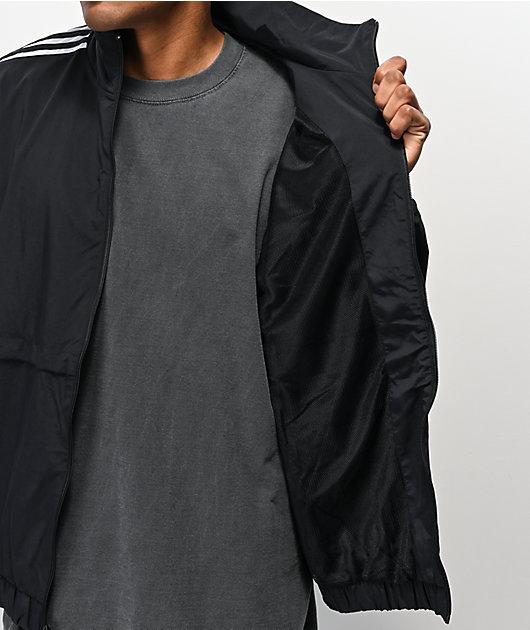 Ocurrencia De confianza algodón  adidas Standard chaqueta cortavientos negra y blanca   Zumiez