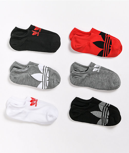 adidas Superlite Red, Black & Grey 6 Pack No Show Socks