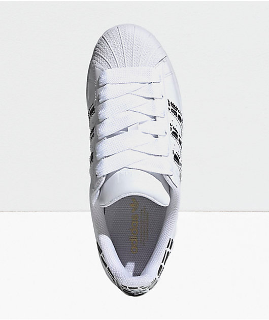 adidas Superstar White, Gold Metallic & Black Shoes