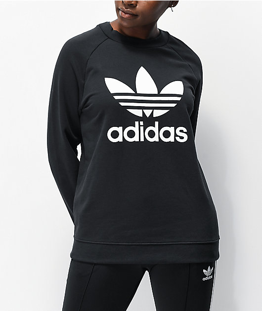 adidas Trefoil Crew Neck Black Sweatshirt