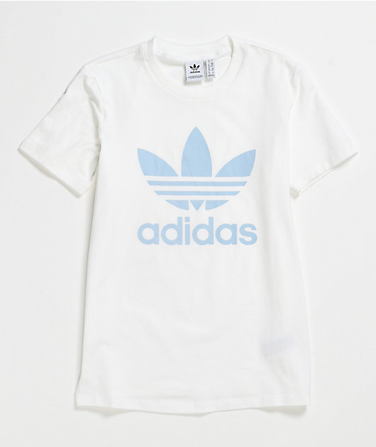 adidas Trefoil camiseta blanca y azul