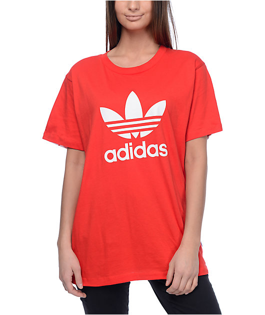 Parte Disponible Bisagra  adidas Trefoil camiseta roja con espalda impreso | Zumiez