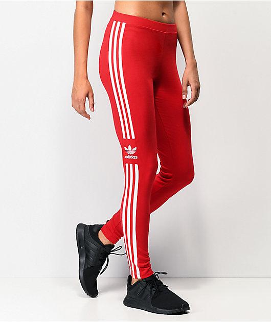 adidas Trefoil leggings escarlata de 3 rayas