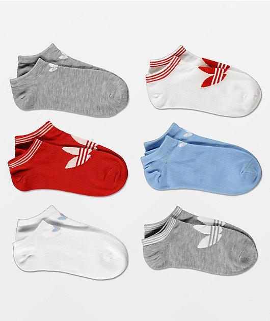 adidas Trefoil paquete de calcetines invisibles azules y rojos
