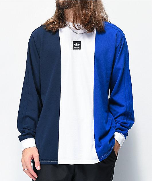 adidas Tripart Navy, White & Royal Blue Knit Long Sleeve T-Shirt
